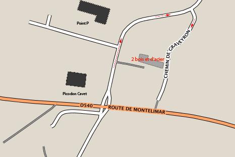2Bois et d'Acier plan d'accès Dieulefit, route de Montélimar