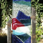sculpture verre, socle acier