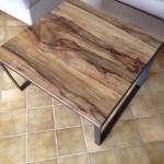 table basse fer et bois réalisé par 2 bois et d'acier, dieulefit, drôme (ferronnerie, ébénisterie, forge)