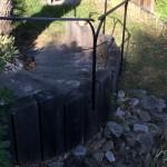 main courante en fer forgé réalisé par 2 bois et d'acier, dieulefit, drôme (ferronnerie, ébénisterie, forge)