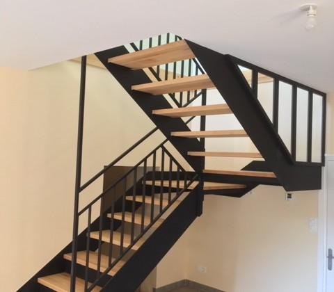 Escalier double palier 1/2 tournant