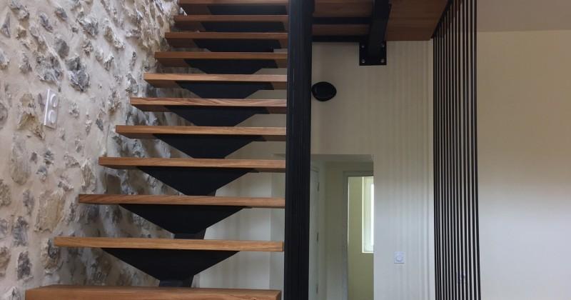 escalier bois/métal palier verre